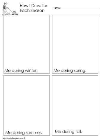 Seasons Worksheets for First Grade Dress for the Season Worksheet