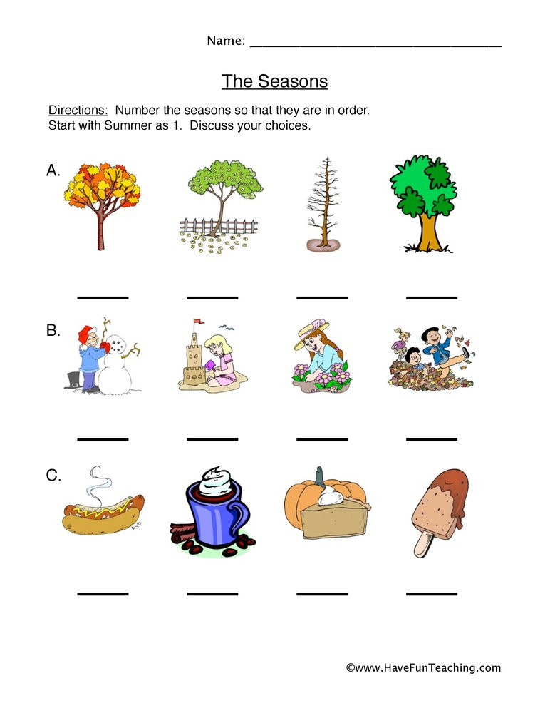 Seasons Worksheets for First Grade Seasonal Cycles Worksheet
