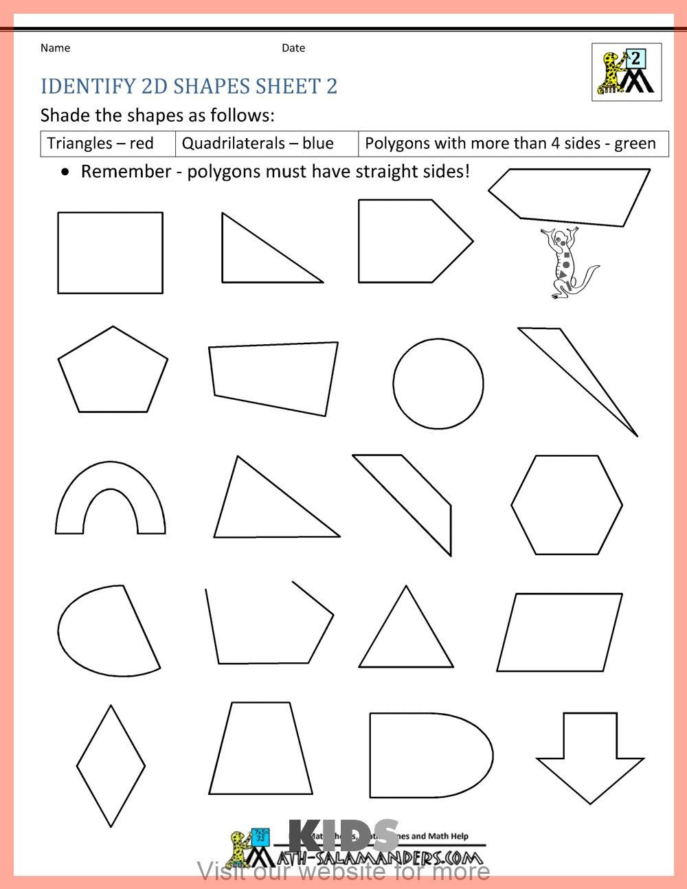 Second Grade Geometry Worksheets Homeschool Worksheet Middle School In 2020