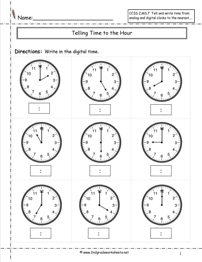 Second Grade Geometry Worksheets Telling Time Worksheets Half Hour Kids Math Free 2nd Grade