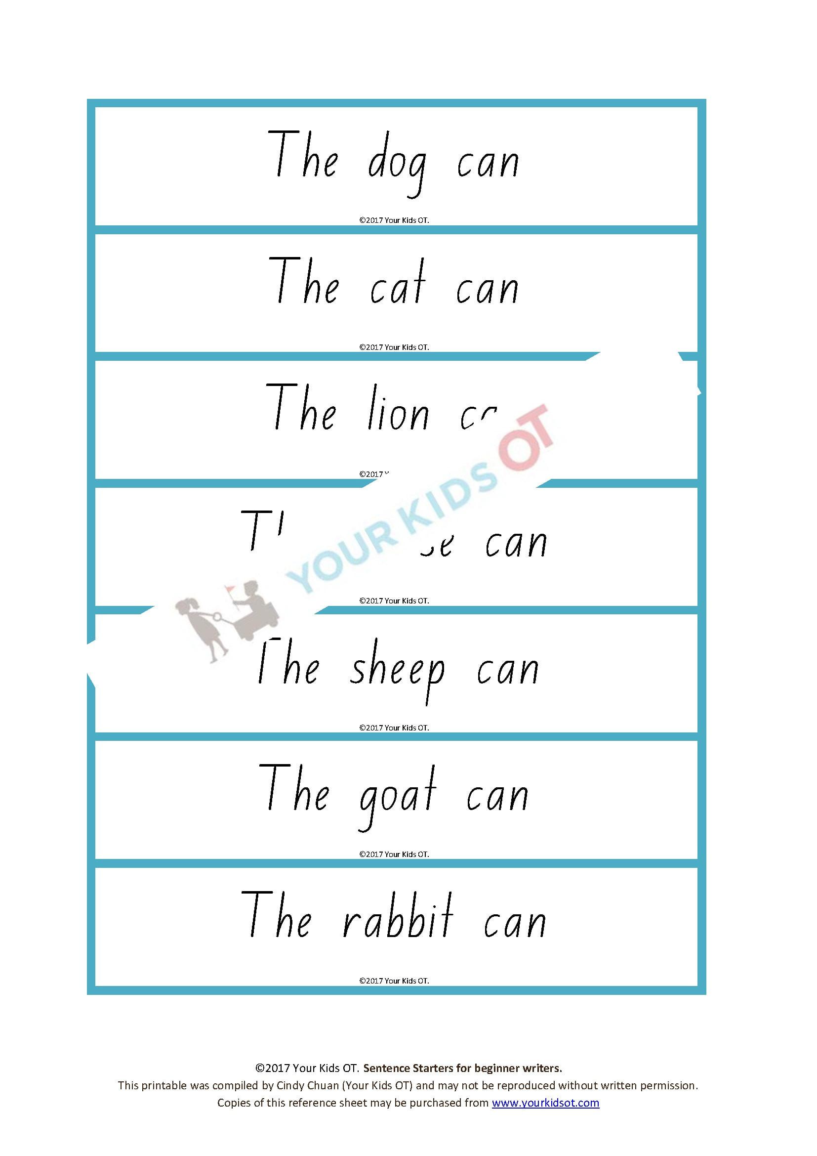 Sentence Starters for Kindergarten 350 Sentence Starters for Beginner Writers Kindergarten and Year 1