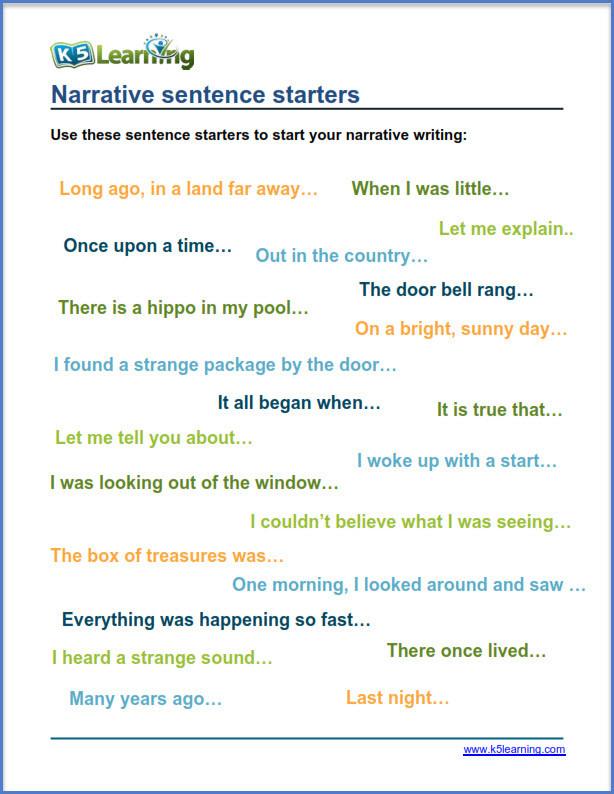 Sentence Starters for Kindergarten tools for Narrative Writing Practice