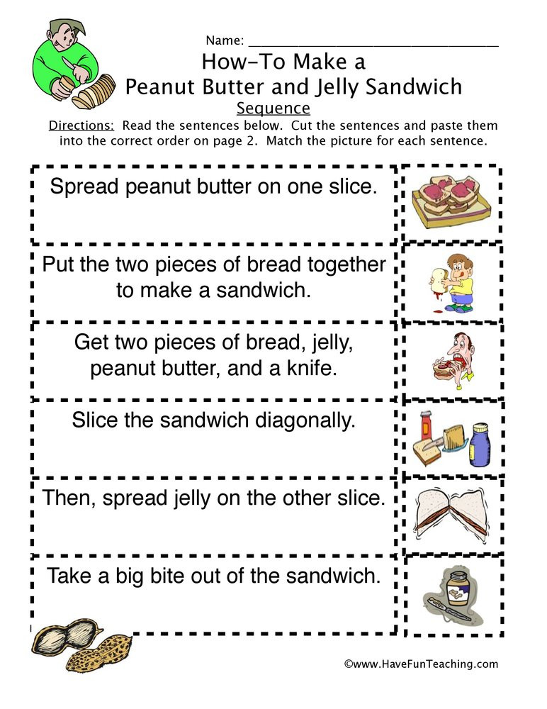 Sequence Worksheets 5th Grade How to Peanut butter Jelly Sandwich Sequence Worksheet