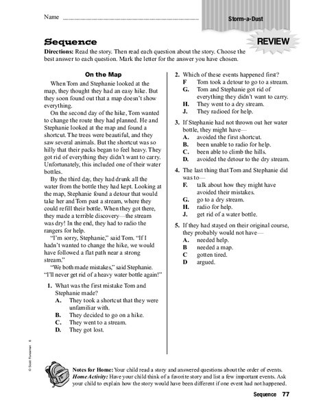 Sequence Worksheets 5th Grade Sequence Worksheet for 3rd 5th Grade