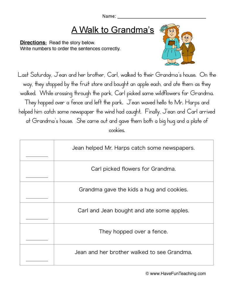 Sequence Worksheets 5th Grade Story events order Of events Worksheet