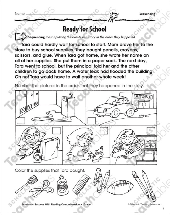 Sequence Worksheets for 1st Grade Sequencing Grade 1 Collection