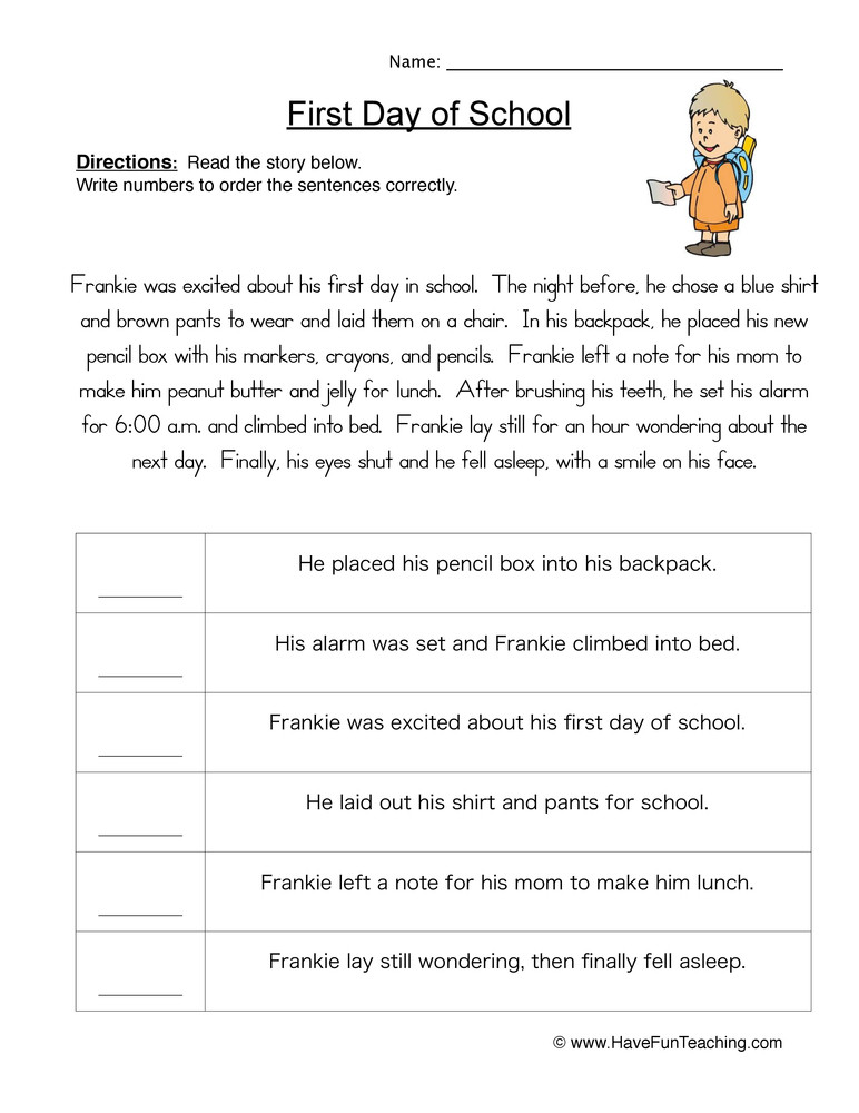 Sequence Worksheets for 1st Grade Story Plot order Of events Worksheet