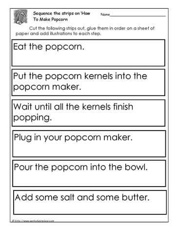 Sequencing Worksheets 5th Grade Procedure How to Make Popcornworksheets