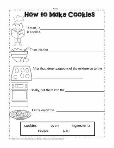 Sequencing Worksheets for 2nd Grade How to Make Cookies Worksheets