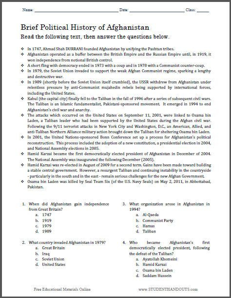 Seventh Grade social Studies Worksheets Brief Political History Of Afghanistan Multiple Choice