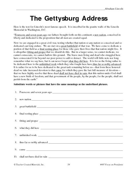 Seventh Grade social Studies Worksheets the Gettysburg Address Worksheet for 5th 6th Grade