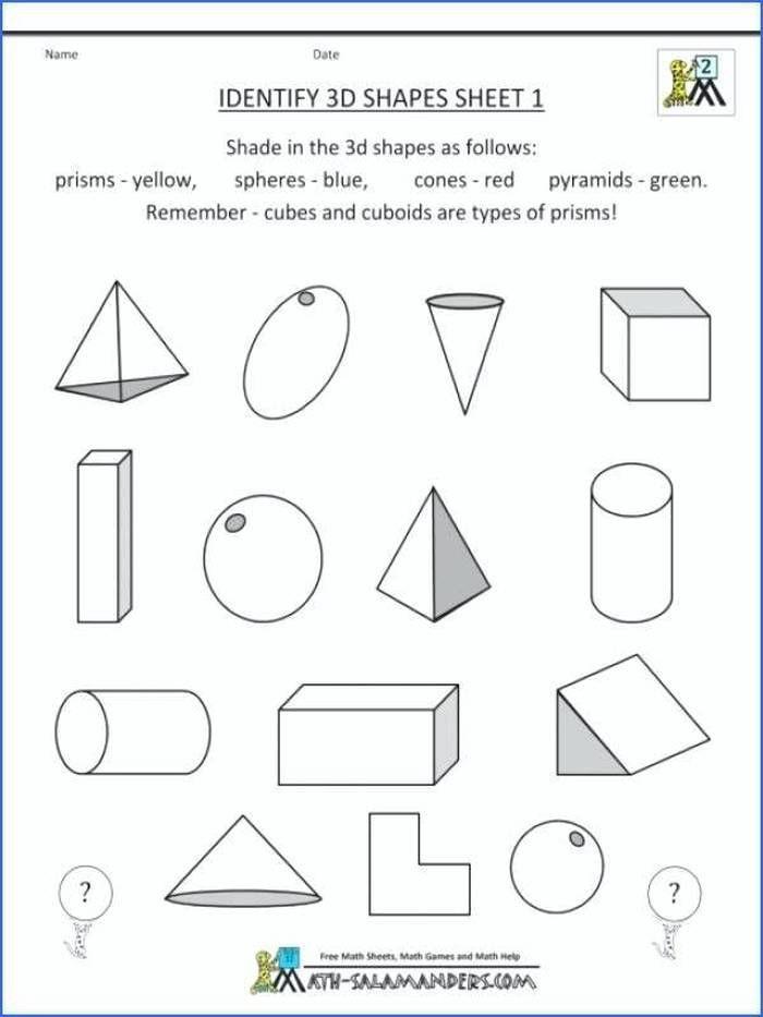 Shapes Worksheets 2nd Grade Mon Core Math Worksheets 2nd Grade 3d Shapes Identify for