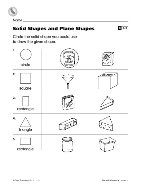 Shapes Worksheets 2nd Grade solid Shapes and Plane Shapes Worksheet for 2nd Grade