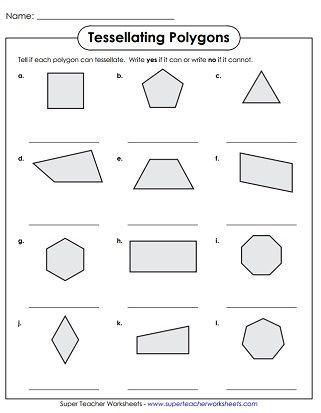 Shapes Worksheets 2nd Grade Tessellation Polygons Worksheet