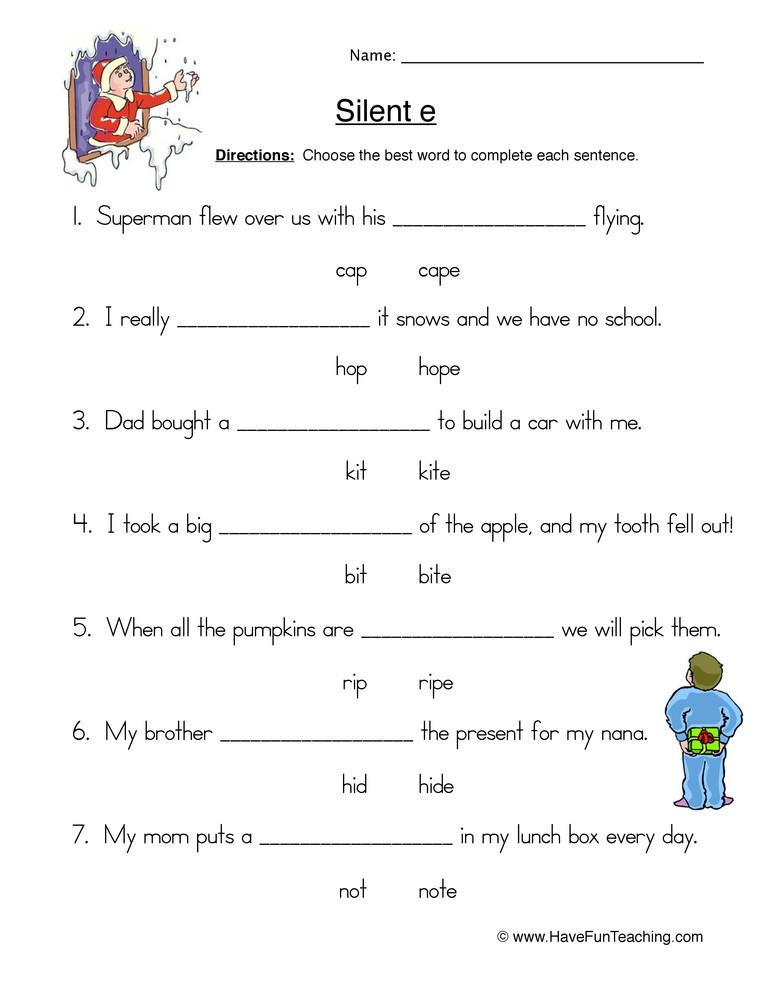 Silent E Worksheets 2nd Grade Circling Cvc E Words Worksheet