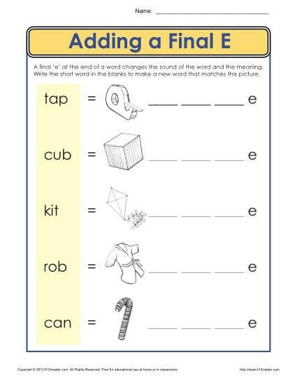 Silent E Worksheets 2nd Grade Ending Letter E Worksheet