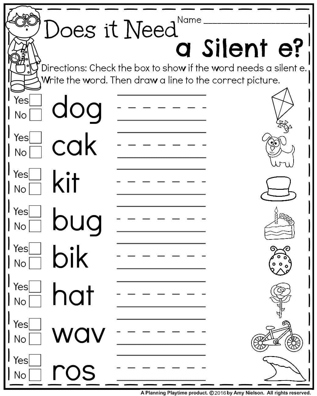 Silent E Worksheets 2nd Grade First Grade Summer Worksheets with Images