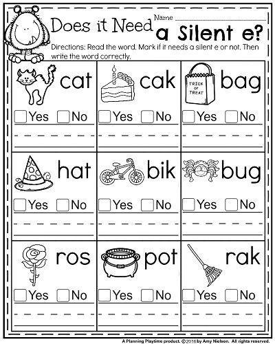 Silent E Worksheets 2nd Grade October First Grade Worksheets