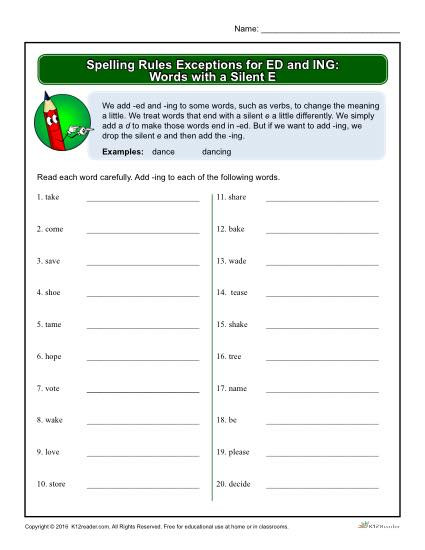Silent E Worksheets Grade 2 Spelling Rules Exceptions for Ed and Ing Words with A Silent E
