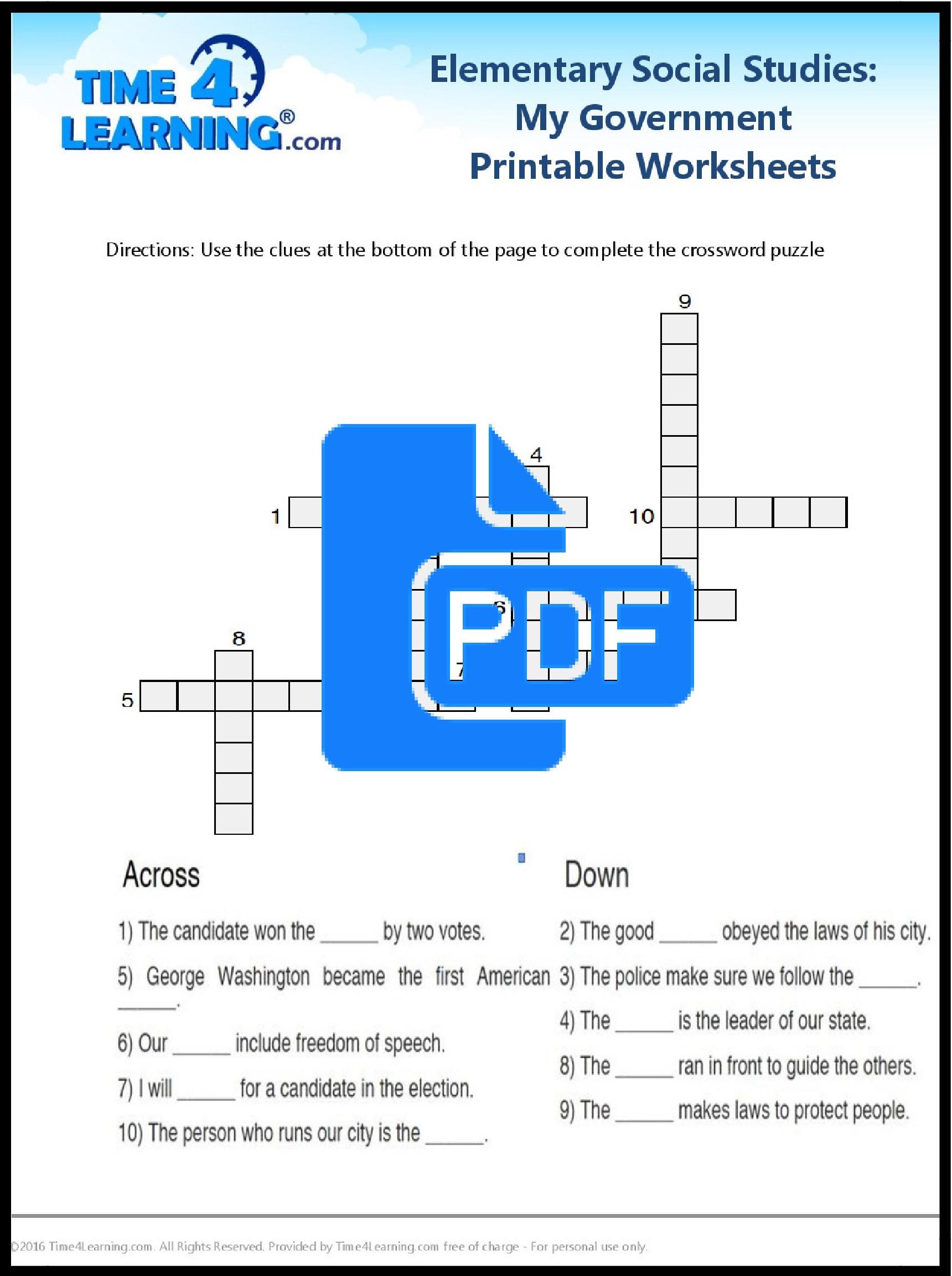 Sixth Grade social Studies Worksheets Free Printable Elementary social Stu S Worksheet