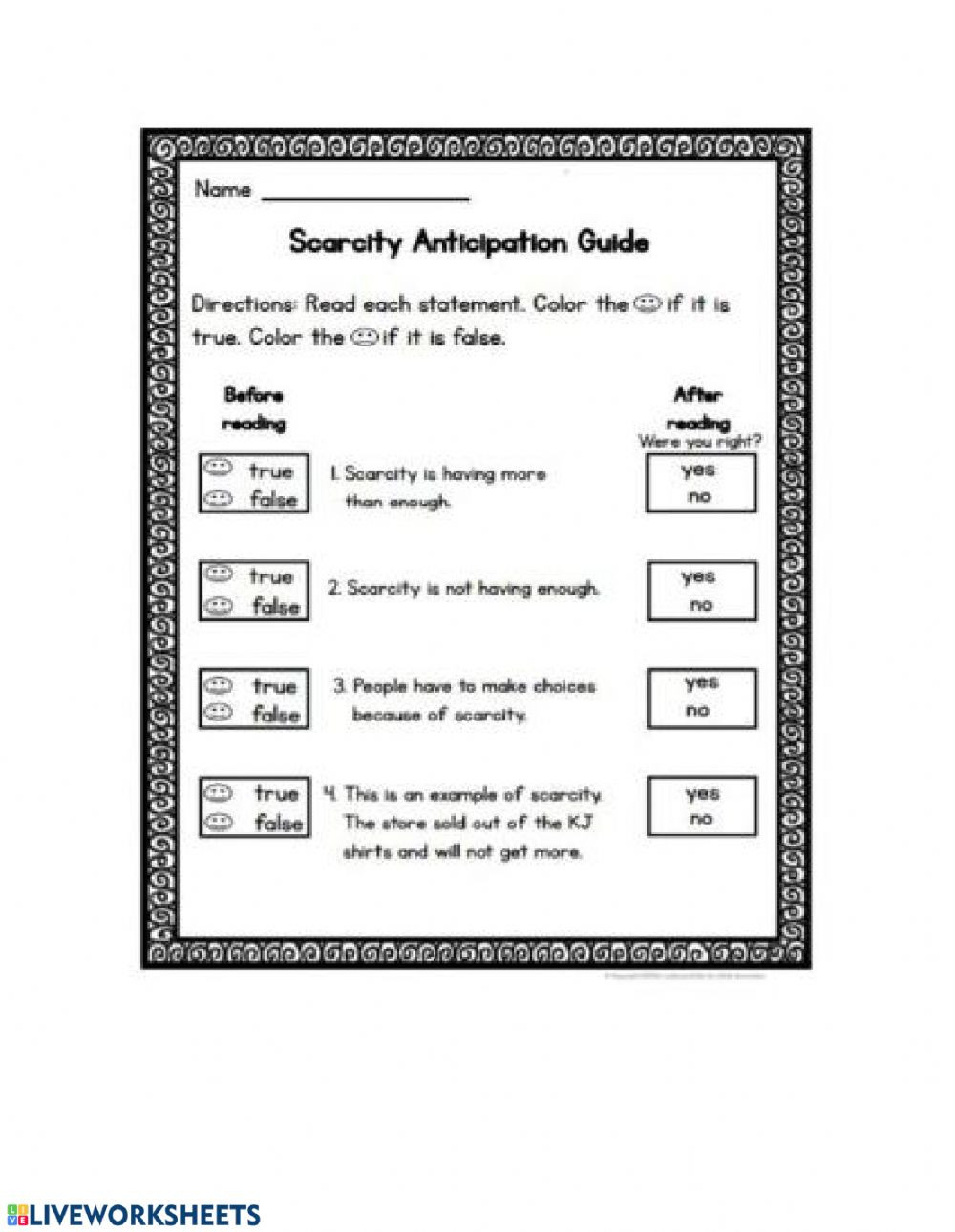 Social Studies Worksheets 2nd Grade Scarcity Interactive Worksheet
