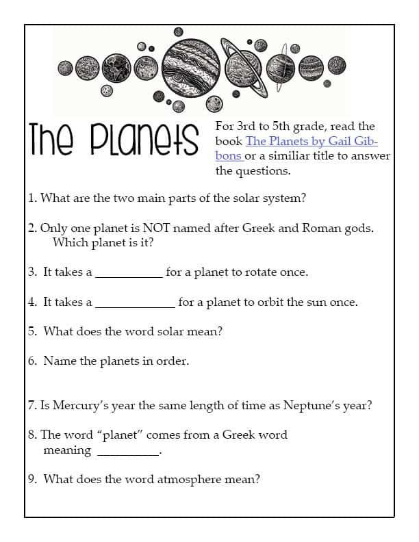 Solar System Worksheets 5th Grade Planets & Outer Space Unit for Intermediate Learners