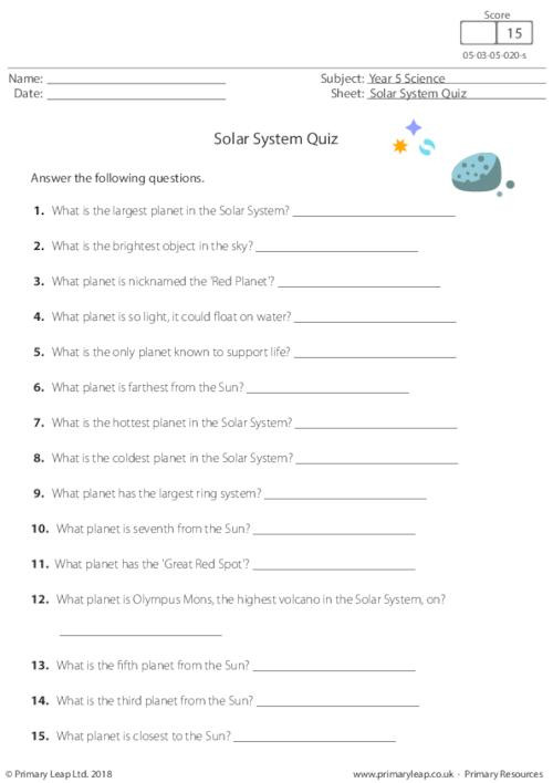 Solar System Worksheets 5th Grade Science solar System Quiz Worksheet