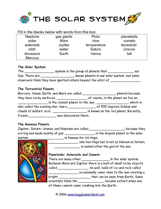 Solar System Worksheets 5th Grade solar System Cloze Activity Worksheet for 4th 5th Grade