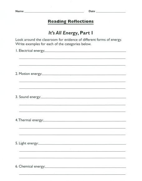 Sound Energy Worksheets 4th Grade forms Of Energy Everyday Examples to Help Students