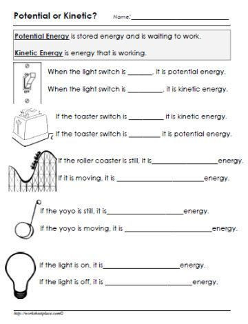 Sound Energy Worksheets 4th Grade Potential or Kinetic Energy Worksheet