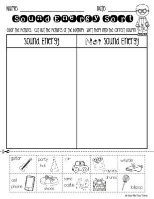 Sound Energy Worksheets 4th Grade sound sort forms Of Energy Worksheet K 1 2 From Busy Me