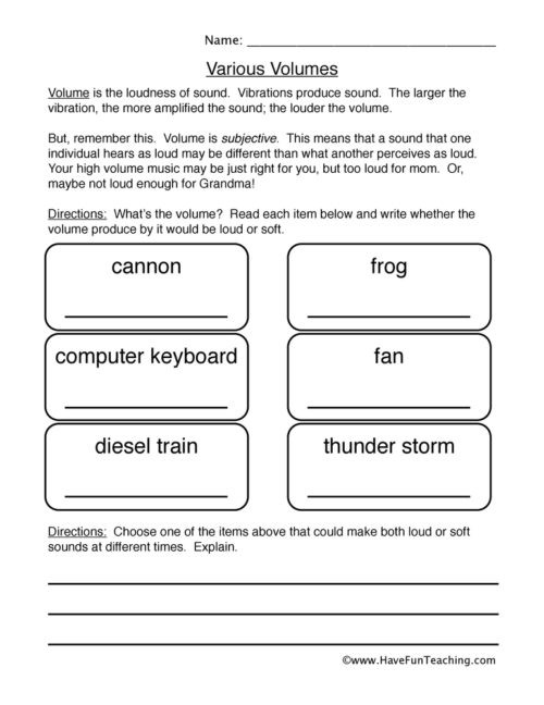 Sound Energy Worksheets 4th Grade sound Worksheets • Have Fun Teaching