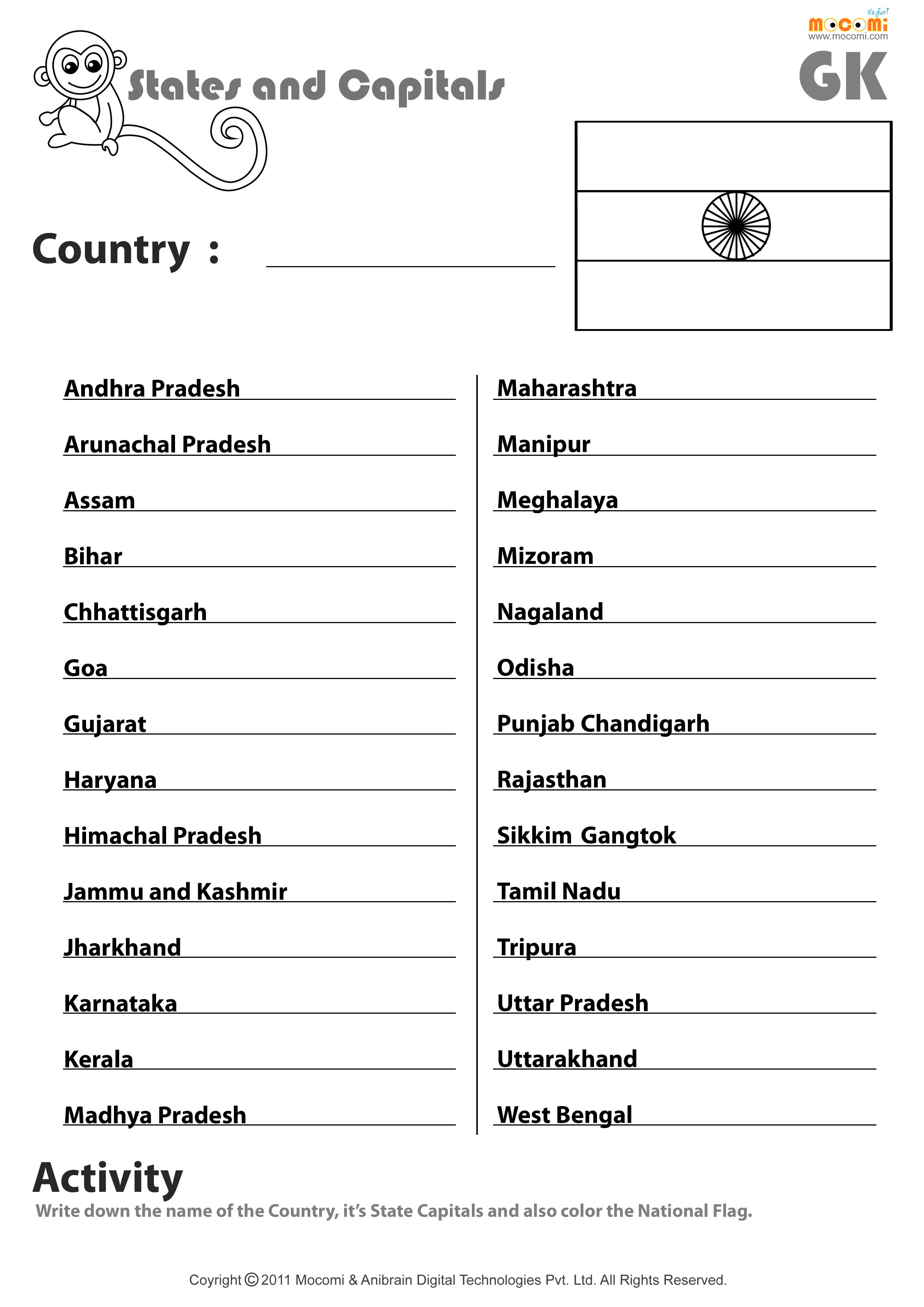 State and Capital Quiz Printable Indian States and their Capitals English Worksheets for