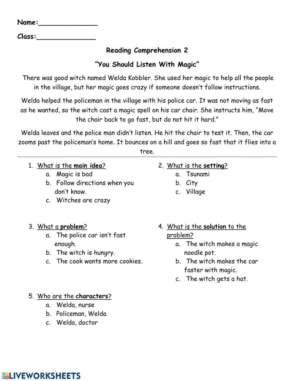 Story Elements Worksheet 2nd Grade Reading Prehension Follow Directions Interactive