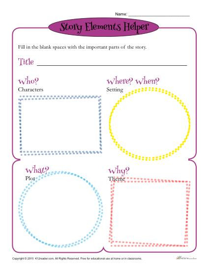 Story Elements Worksheet 2nd Grade Story Elements Helper form Template for Students