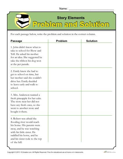 Story Elements Worksheet 2nd Grade Story Elements Worksheet Problem and solution