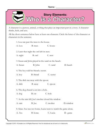 Story Elements Worksheets 2nd Grade who is A Character