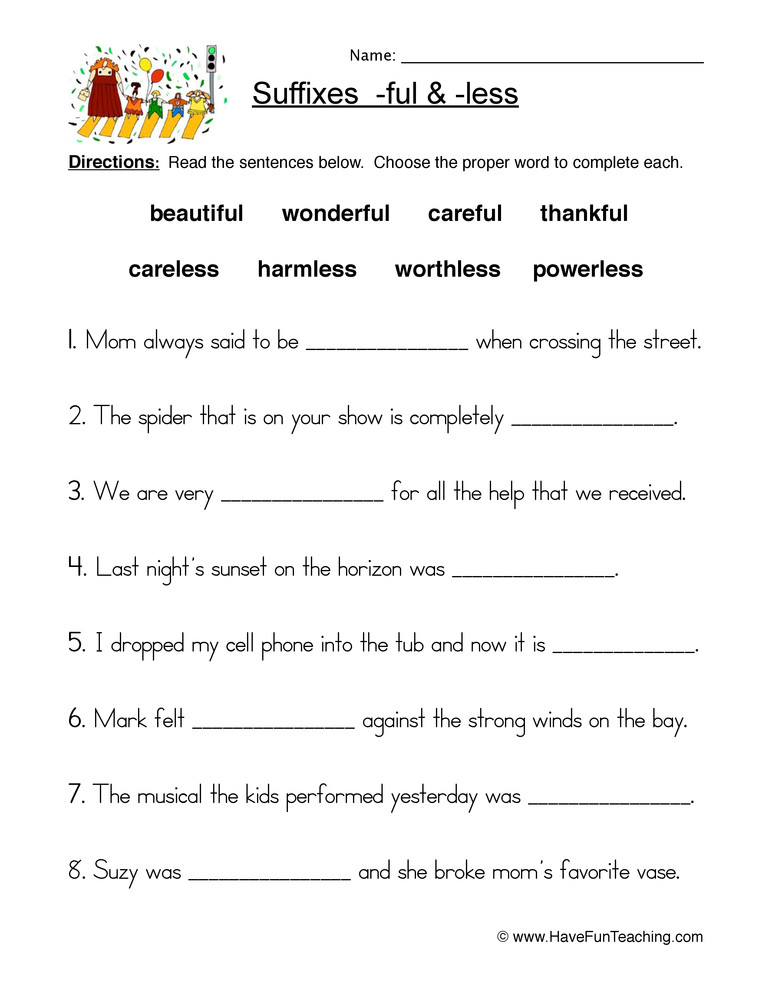 Suffix Worksheets for 4th Grade Suffix Ful and Less Worksheet