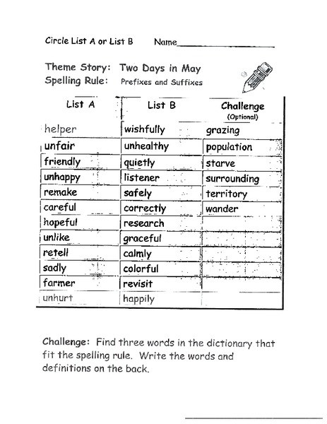 Suffixes Worksheet 3rd Grade Prefixes and Suffixes Worksheet for 1st 3rd Grade