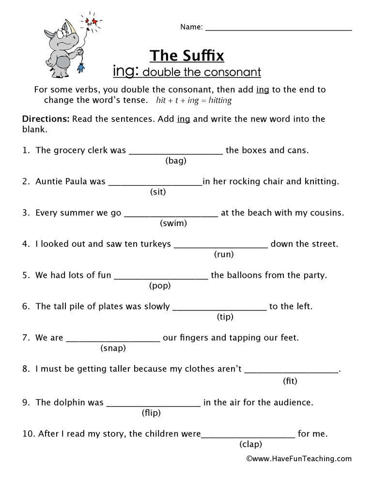 Suffixes Worksheets for 3rd Grade 20 Suffix Ing Worksheet