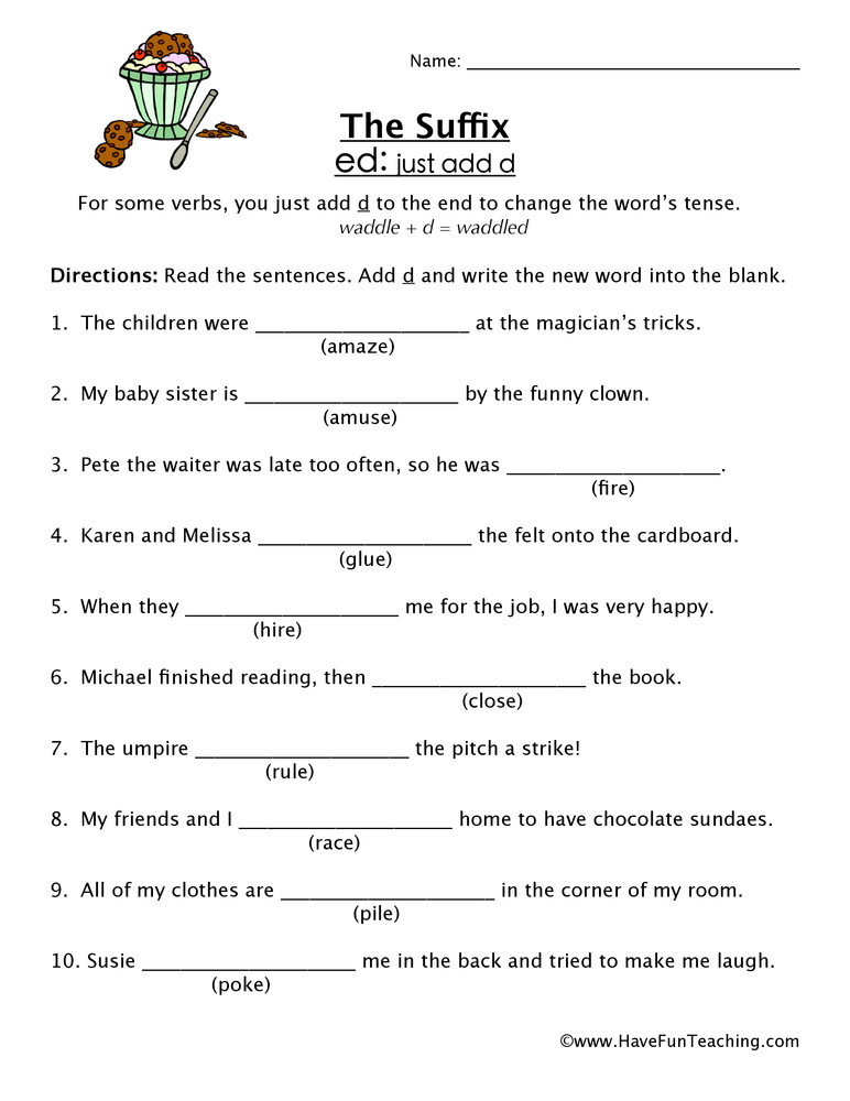 Suffixes Worksheets for 3rd Grade Adding Suffix Ed Worksheet
