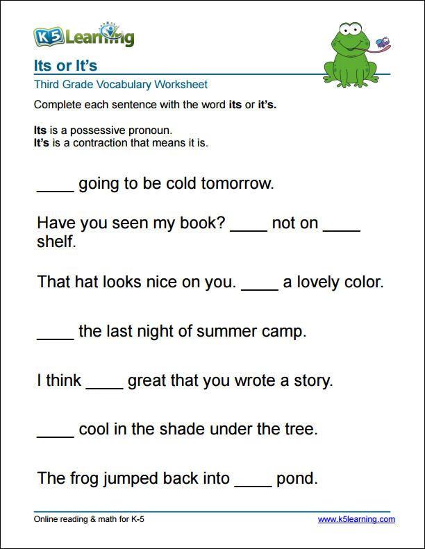 Summarizing Worksheet 3rd Grade 3rd Grade It S or Its Worksheet