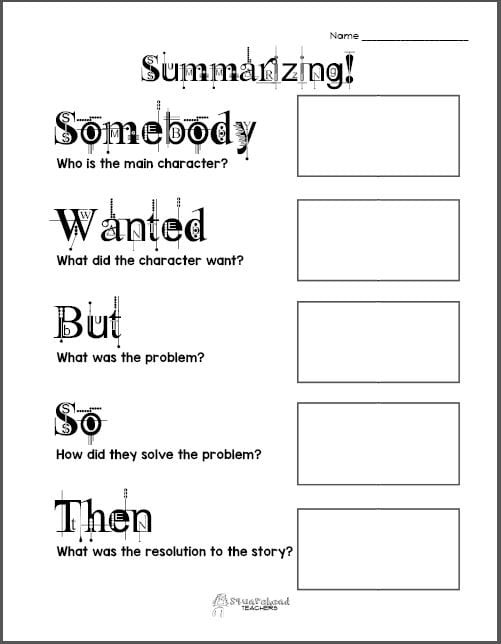 Summarizing Worksheet 3rd Grade Free Printable Summarizing Graphic organizers Grades 2 4