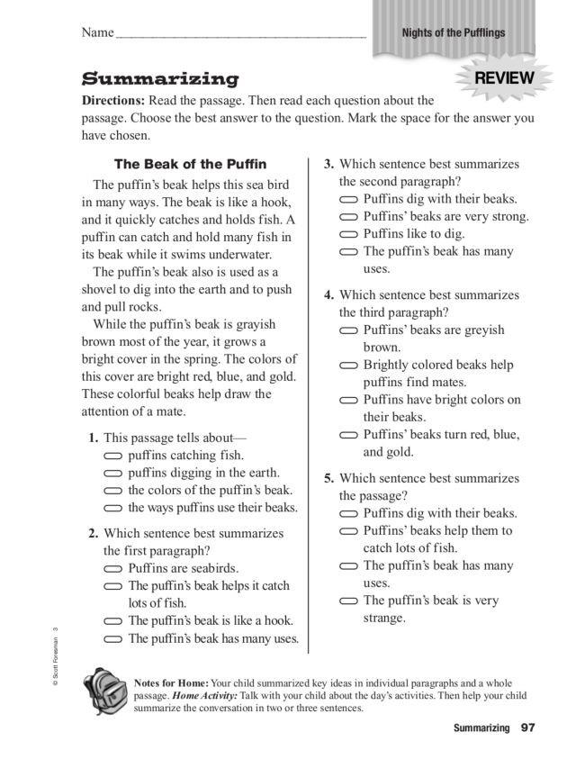"Summarizing Worksheet 3rd Grade Summarizing ""night Of the Pufflings"" Worksheet for 2nd"