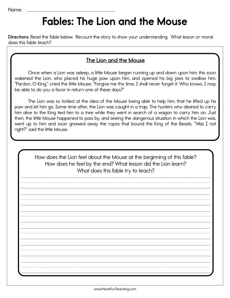 Summarizing Worksheet 4th Grade Fables the Lion and the Mouse Worksheet