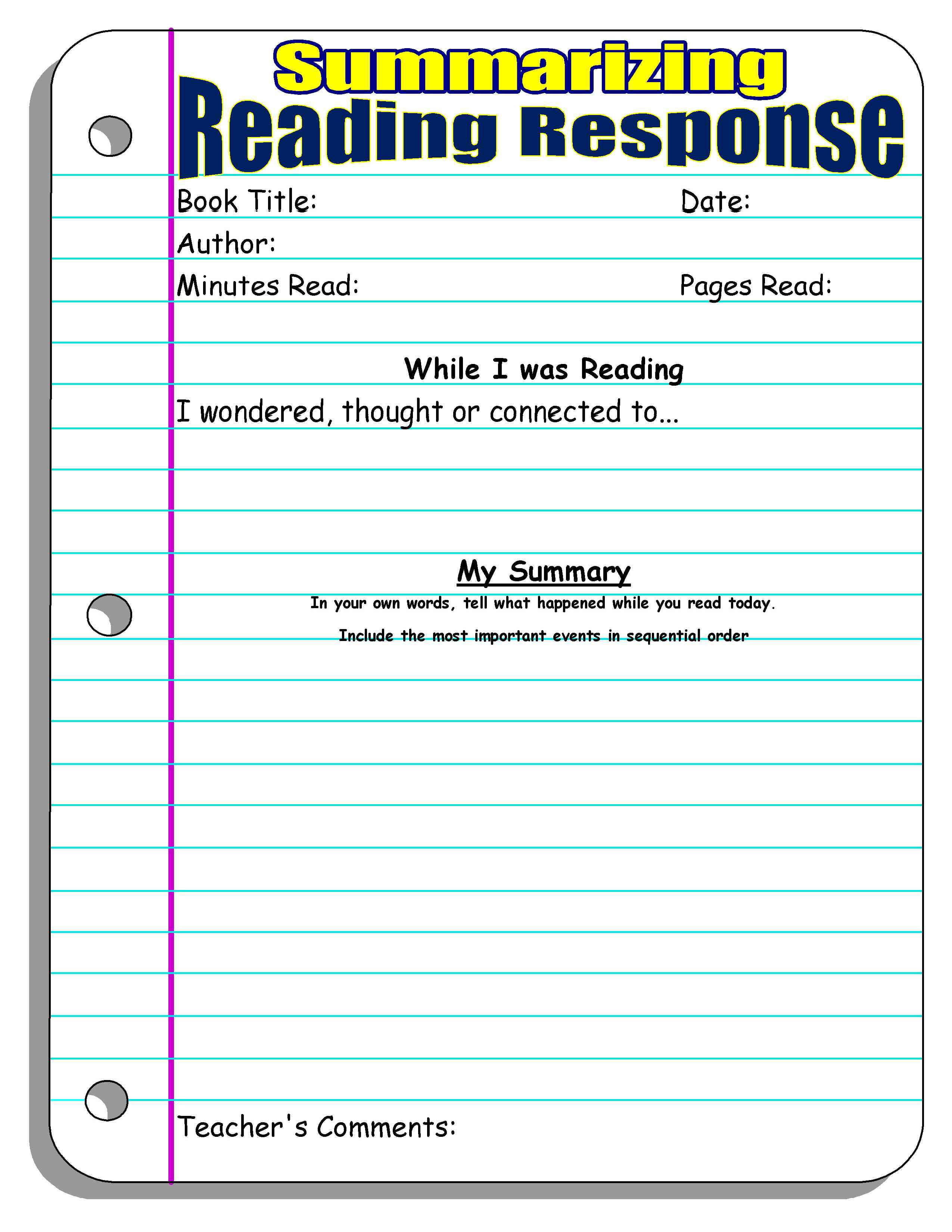 Summarizing Worksheet 4th Grade Reading Response forms and Graphic organizers
