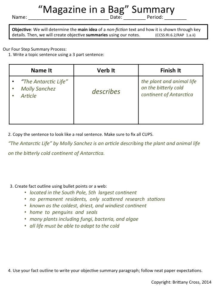 Summarizing Worksheet 4th Grade Summarizing Non Fiction Articles