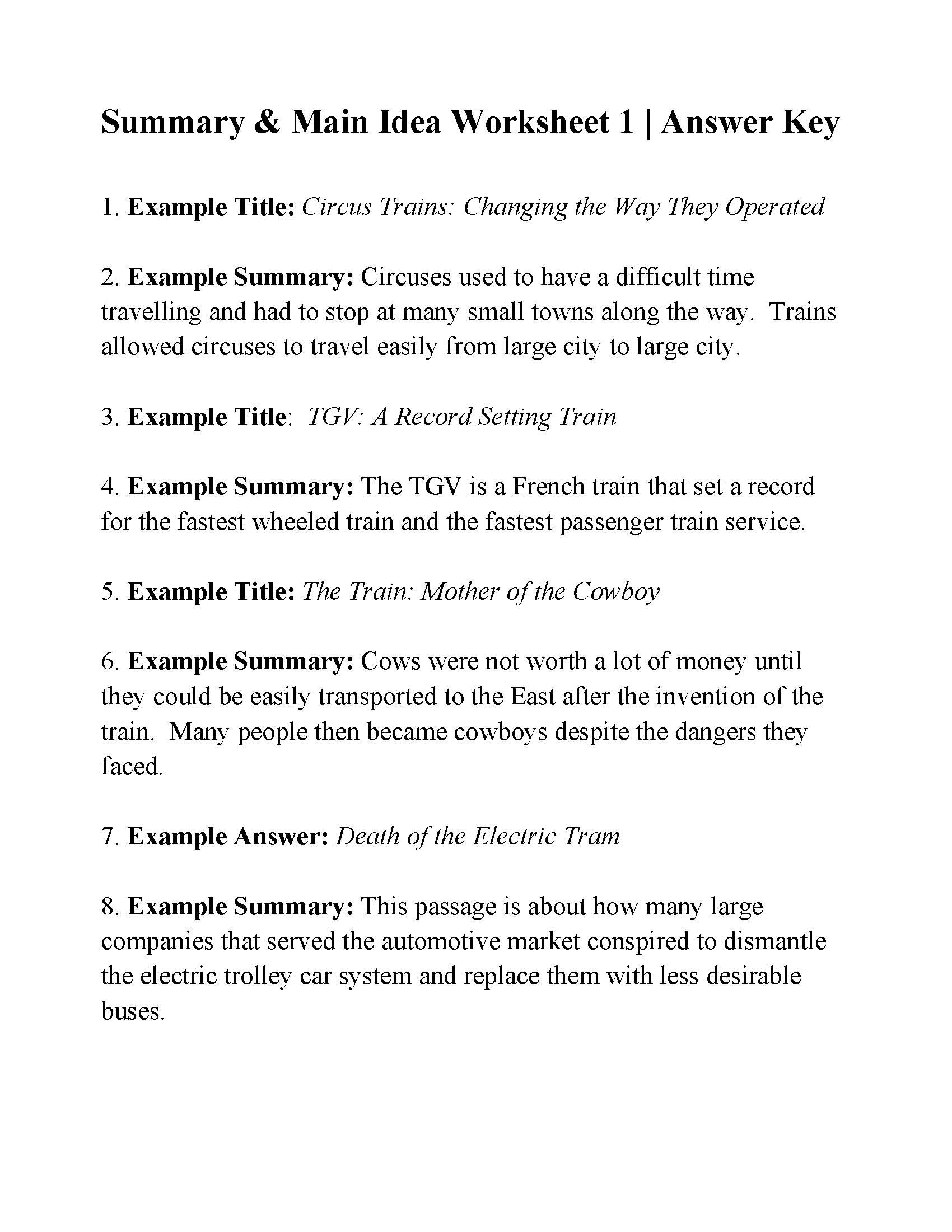 Summarizing Worksheet 4th Grade Summary and Main Idea Worksheet 1