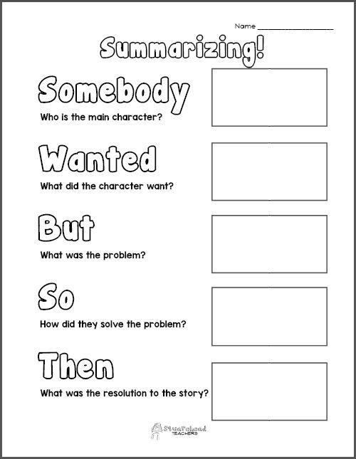 Summary Worksheets 2nd Grade Free Printable Summarizing Graphic organizers Grades 2 4