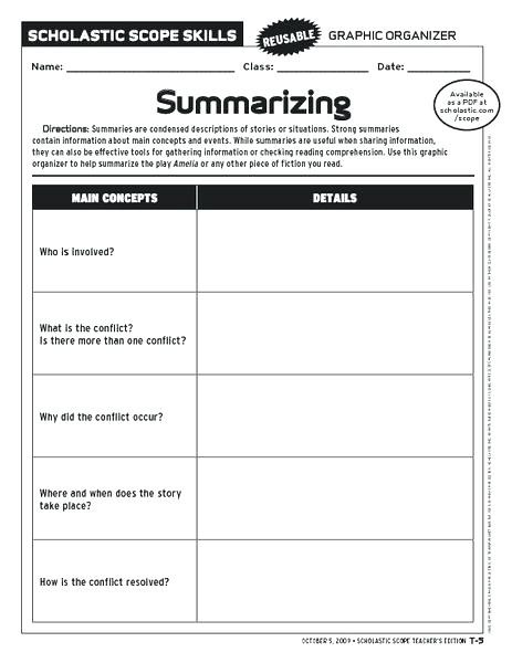 Summary Worksheets 2nd Grade Free Summarizing Worksheets Free Printable Eighth Grade